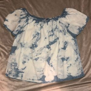 Buddy Basics by BuddyLove OTS Chambray Tie-Dye Top